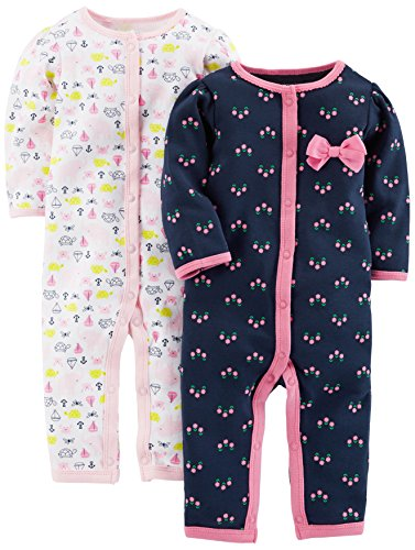 Flower Girl Clothes (Simple Joys by Carter's Baby Girls' 2-Pack Cotton Footless Sleep and Play, Elephant/Flowers with Cuffs,)