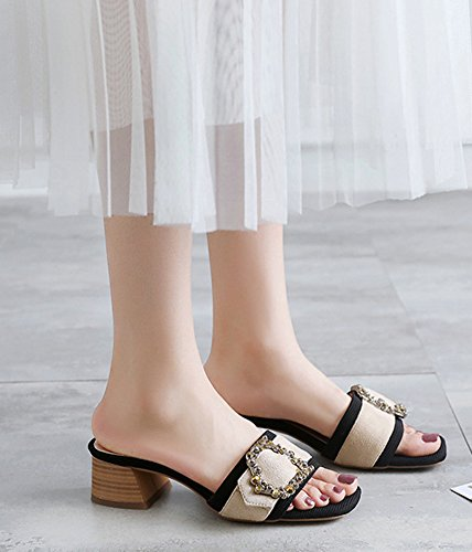 Aisun Women's Daily Open Toe Mid Block Heels Sandals Apricot yzZgdJr