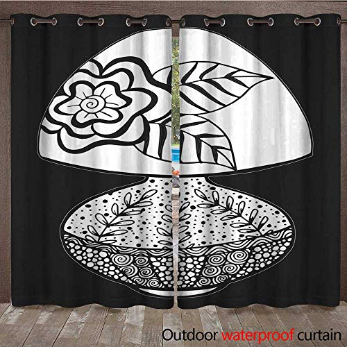 r Curtains for Patio Sheer Hand Drawn Black and White Retro Table lamp Illustration W72 x L84 ()