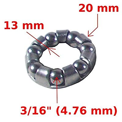 "Bike Ball Bearing Caged Front Wheel Hub 3/16"" Bearings Axle Retainer Steel Moped"