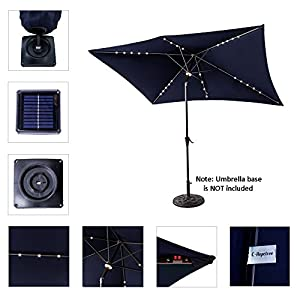 C-Hopetree Solar LED Lights Outdoor Patio Umbrella, 6'6 x 10' Rectangular with Crank Winder, Push Button Tilt, Navy Blue
