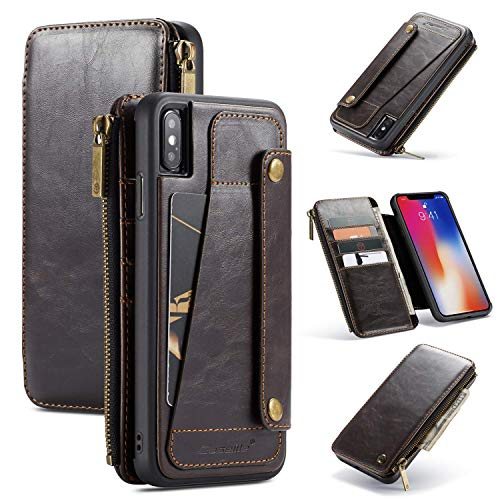 iPhone Xs Max Wallet Case, 2-in-1 Detachable Premium Leather Wallet Case with 5 Card Holder Slots & Smooth Zipper Wallet, Durable Protective Case & Leather Folio Purse-Black (Brown)
