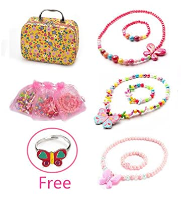 PinkSheep Elastic Necklace and Bracelet 3 Sets, Owl and Flower Necklace, Little Girls Jewelry In Box, Party Favors Bags For Kids