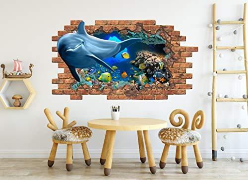 Dolphin Wall Decal, Sea Fish Wall Mural, Peel and Stick, Nautical Nursery Bedroom Decor ND98