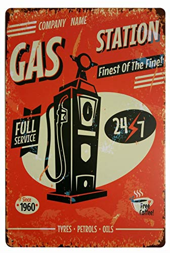 ifidex Eletina Large Retro Gas Signs , Company Name Gas Station Full Service Free Coffee Retro Vintage Decor Metal Tin Sign 12 X 8 Inches, Antique Military ()