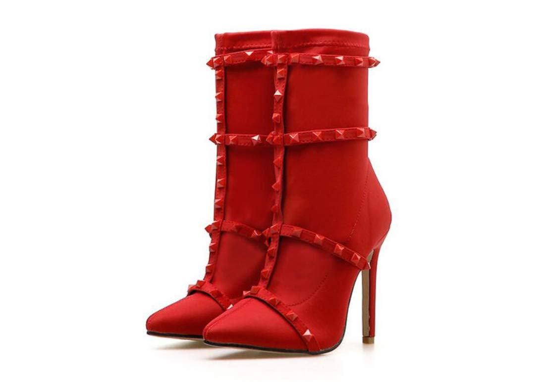 DANDANJIE Frauen Stiefel Spitz Gürtel Niet Stiefel Mode Schlank High Heels Schuhe