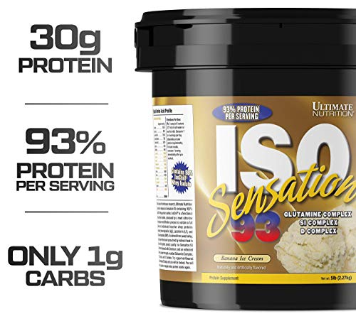 Ultimate Nutrition Iso Sensation 93 Fat Free Whey Protein Isolate Powder with Glutamine - 30 Grams of Pure Protein, Low Carb, Keto Friendly, Banana Ice Cream, 5 Pounds