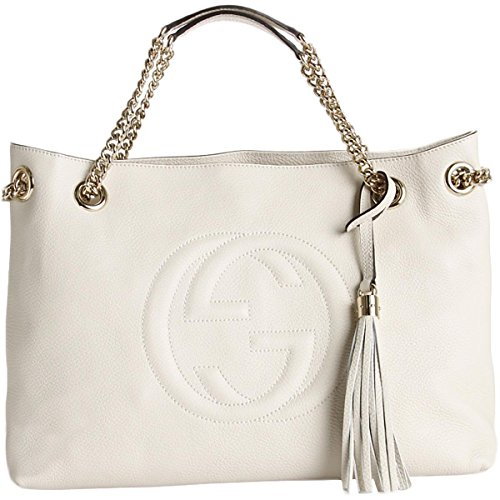 Gucci Womens Soho Leather Chain Straps Shoulder Handbag White Large