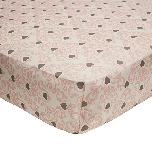 Bella Damask Cotton Baby Girl Fitted Crib Sheet by The Peanut Shell