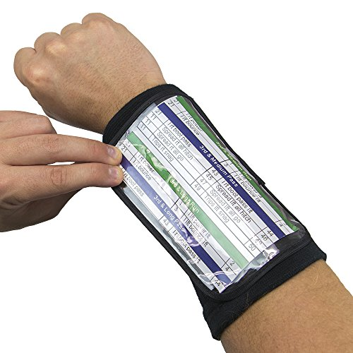Crown Sporting Goods Football Quarterback Triple Insert Playbook Wristband, Multi-Sport Play Holder (6.5