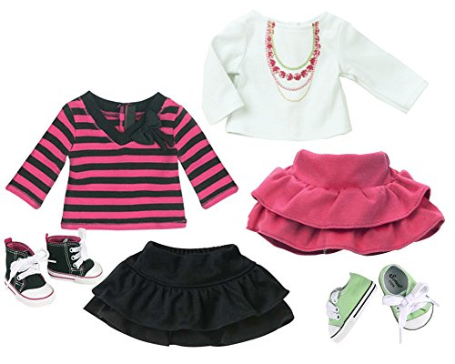 Sophia's Fall Doll Clothes of Two 18 Inch Doll Shirts, Two Skirts and Two Pair of Shoes | Doll Wardrobe