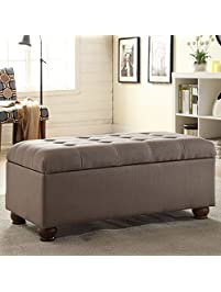 storage bench furniture entryway bedroom gray tufted with espresso finish