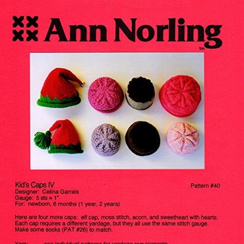 Cap Knitting Pattern - Ann Norling Pattern #40 Kid's Caps IV