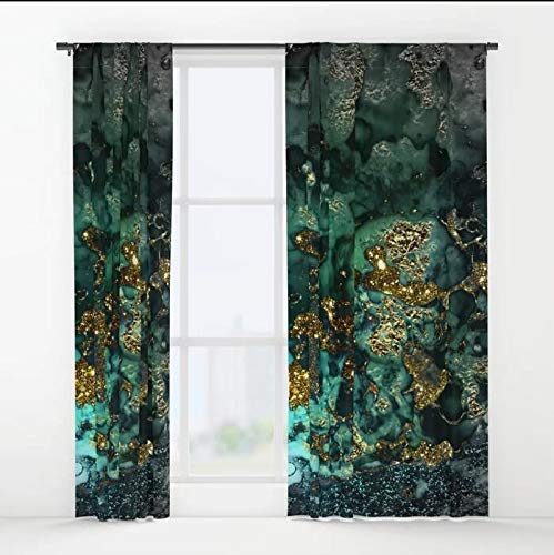 (XicoLtd Gold Indigo Malachite Marble Window Curtains Window Drapes Blackout Curtains Panels Bedroom,Home,Set of 2,84x55 inch)
