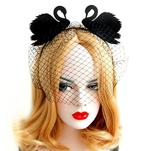 QTMY Black Swan Face Veil Yarn Eye Mask Headdress Hairdress for Halloween Party Costume