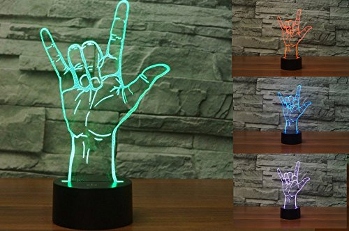 New 3D I Love You Sign Night Light Touch Switch Table Desk Optical Illusion Lamps 7 Color Changing Lights LED Table Lamp Xmas Home Love Brithday Children Kids Decor Toy Gift