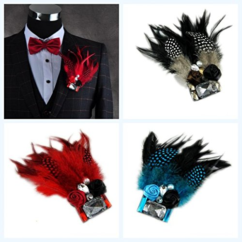 High-end custom wedding groom feather brooch brooch wedding guest singer host corsage brooch stage pictures Feather Groom