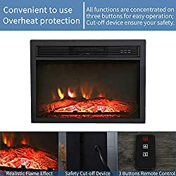 """Top Space 24""""/30"""" Electric Fireplace Insert LED Adjustable Flame Logs with Remote, 1400W/4777 BTU by Top Space"""