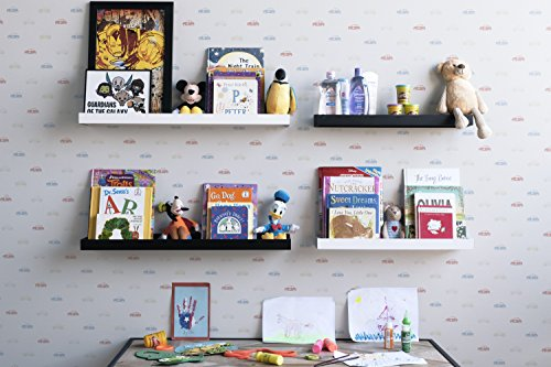 Wallniture Philly 3 Floating Shelves Trays Bookshelves and Display Bookcase - 31.6 inch Modern Wood Shelving Units for Kids Bedroom & Nurseries - White Wall Mounted Storage Shelf by Wallniture (Image #1)