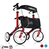 OasisSpace Aluminum Rollator Walker, with 10'' Wheels and Seat Compact Folding Design Lightweight Baking Complimentary Carry Bag (Red)