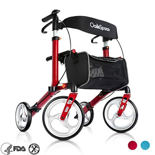 OasisSpace Aluminum Rollator Walker, with 10'' Wheels and Seat Compact Folding Design Lightweight Baking Complimentary Carry Bag (Red) ()
