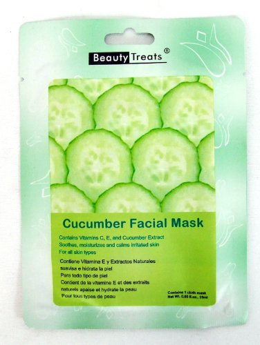 External Cache (BEAUTY TREATS Cucumber Vera Facial Mask Refreshing Vitamin C Solution for All Skin Types (Choice Qty) 10 pk)