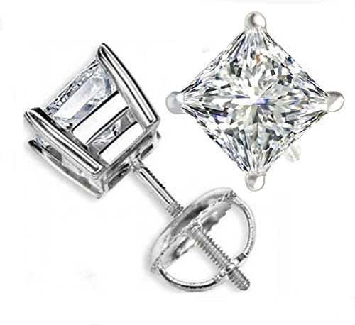 Venetia Supreme Realistic Princess Cut NSCD Simulated Diamond Solitaire Earrings Earstuds Screw Back Solid 925 SIlver Platinum Plated 1 Carats 5mm cz cubic zirconia swarovski esq5m