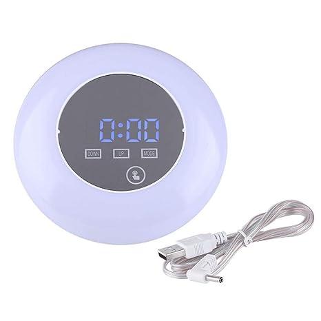 Despertador LED colorido Luz de noche, pantalla táctil Reloj digital Luz de noche con brillo
