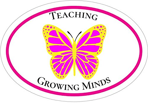 WickedGoodz Oval Pink Butterfly Teaching Growing Minds Teacher Vinyl Decal Perfect Teacher Appreciation School Educator Gift School Bumper Sticker
