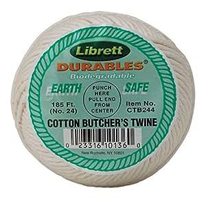 Librett Durables Butchers Twine, Cotton, 185-Feet White
