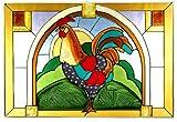 Rooster Horizontal Art Glass Panel Wall Hanging Suncatcher 14 x 20
