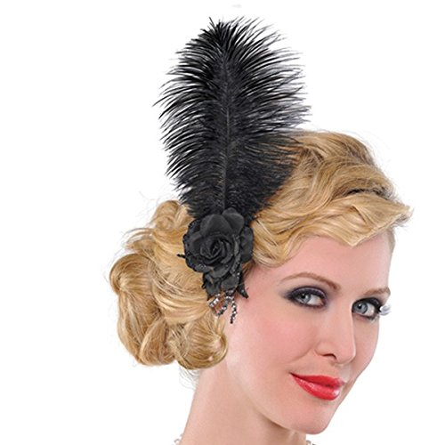 Amscan Roaring 20s Costume Party Jazzy Flapper Flower Hair Clip, Black, One (Roaring 20s Girls)