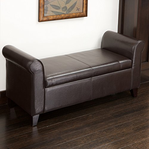 Great Deal Furniture Chester Armed Brown Storage Ottoman