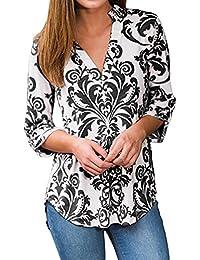 Shinekoo Women Autumn V-neck Long Sleeve Floral Tops Blouse Loose Shirt