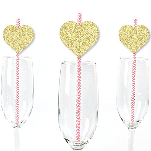 Big Dot of Happiness Gold Glitter Hearts Party Straws - No-Mess Real Gold Glitter Cut-Outs & Decorative Valentine's Day Party Paper Straws - Set of 25 Big Glitter Dots