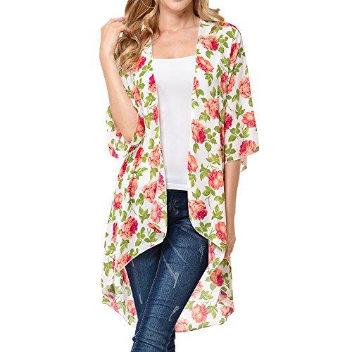 Basico Women's Open Asymmetrical Hem Print Chiffon Vest Cardigan (Small/ Medium, Long Cardi- Fuchsia)