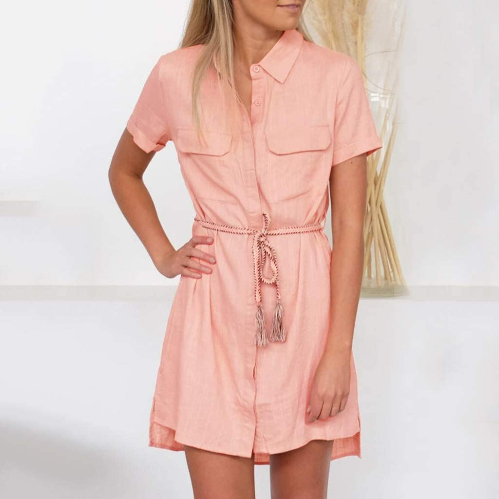 BOLAYU Womens Summer Solid Casual Tunic t Shirt Dress Short Sleeve Button Up Loose with Pockets Belt Mini Swing Dress