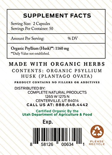 Organic Natural Whole Psyllium Husk Powder Capsules - 580mg Capsules 100 Pure Unflavored Fiber & Colon Cleanse Pills by Complete Natural Products (Image #2)