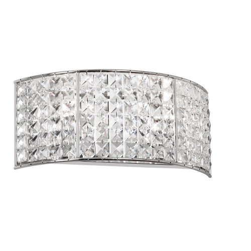 Dainolite Lighting V677-2W-PC Mila Crystal Vanity Bathroom Lights, Polished Chrome