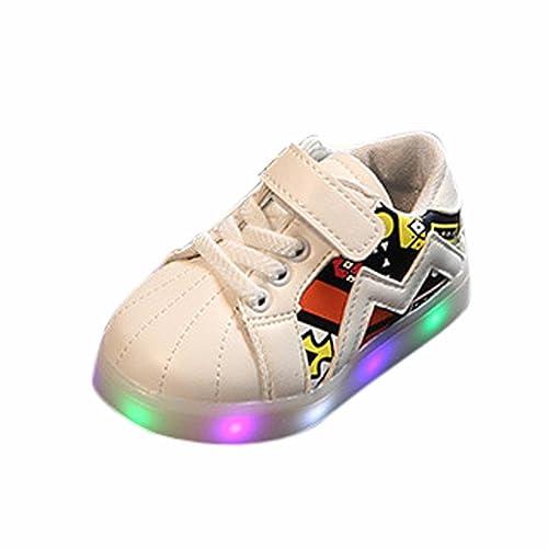 K-youth® Zapatos Unisex Niños LED Luz Luminosas Flash Zapatos Zapatillas de Deporte Zapatos de Bebé Antideslizante Zapatillas con Luces Para Niñas Niños: ...