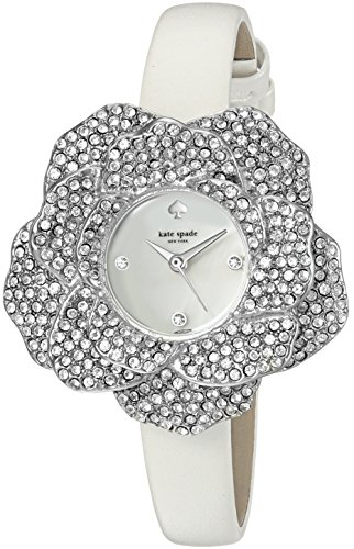 kate spade new york Women's 'Rose Shaped Case' Quartz Stainless Steel and Leather Casual Watch, Color:White (Model: KSW1316) (Stainless Case Shaped Steel)