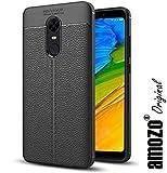 amozo Redmi Note 5 Cover / Redmi Note 5 Soft Silicone TPU Flexible Leather Texture Back Cover / Redmi Note 5 Back Case (Black) (Black)