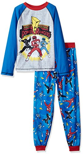 Power Rangers Big Boys' Mighty Morphins 2 Piece Jersey Sleep Set, Blue, S (6/7)
