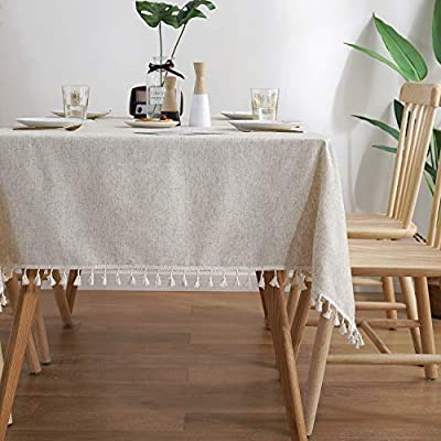 """ColorBird Solid Color Tassel Tablecloth Cotton Linen Dust-Proof Shrink-Proof Table Cover for Kitchen Dining Farmhouse Tabletop Decoration (Square, 55 x 55 Inch, Linen) - MASTERFUL DESIGN - Created from finest cotton linens and finished with beautiful tassels edge, this ColorBird stylish linen tablecloth will make your meal time more luxurious by adding shimmery flatware and simplistic porcelain plates DURABLE MATERIAL - Manufactured from super, hard wearing 100% cotton linen fabric, with a seamless construction that won't easily fray after long term use; Tablecloth measures 55"""" Width x 55"""" Length (140 x 140 cm), includes tassel length, size deviation is between 1 to 2 inch. Fits tables that seat 4 people EASY TO CARE FOR - Machine washable in low temperature or cold water, gentle cycle; Hand wash best; No bleaching; Tumble dry on low heat or lay flat to dry - tablecloths, kitchen-dining-room-table-linens, kitchen-dining-room - 51Kr6GL5xyL. SS400  -"""