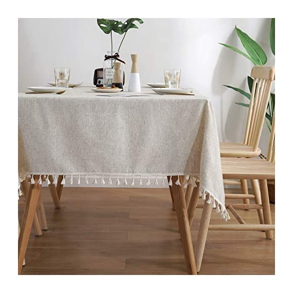 """ColorBird Solid Color Tassel Tablecloth Cotton Linen Dust-Proof Shrink-Proof Table Cover for Kitchen Dining Farmhouse Tabletop Decoration (Square, 55 x 55 Inch, Linen) - MASTERFUL DESIGN - Created from finest cotton linens and finished with beautiful tassels edge, this ColorBird stylish linen tablecloth will make your meal time more luxurious by adding shimmery flatware and simplistic porcelain plates DURABLE MATERIAL - Manufactured from super, hard wearing 100% cotton linen fabric, with a seamless construction that won't easily fray after long term use; Tablecloth measures 55"""" Width x 55"""" Length (140 x 140 cm), includes tassel length, size deviation is between 1 to 2 inch. Fits tables that seat 4 people EASY TO CARE FOR - Machine washable in low temperature or cold water, gentle cycle; Hand wash best; No bleaching; Tumble dry on low heat or lay flat to dry - tablecloths, kitchen-dining-room-table-linens, kitchen-dining-room - 51Kr6GL5xyL. SS570  -"""
