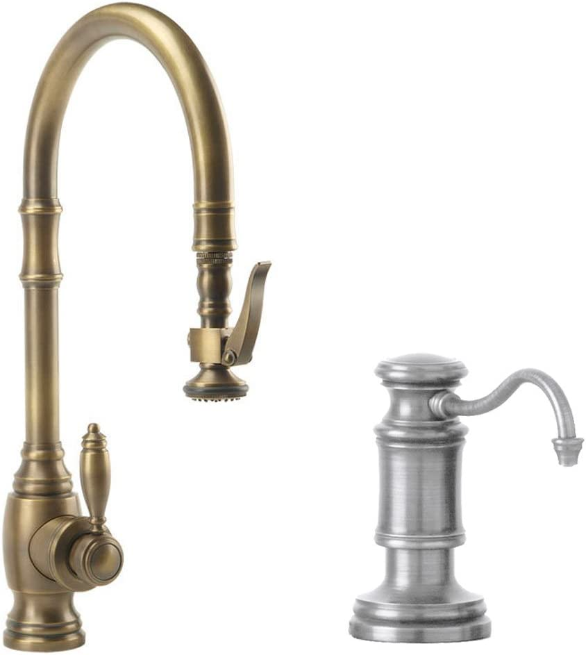 Waterstone 5600-2-PN Annapolis Kitchen Faucet Single Handle with Pull Out Spray, Soap Lotion Dispenser, Air Gap and Air Switch, Polished Nickel