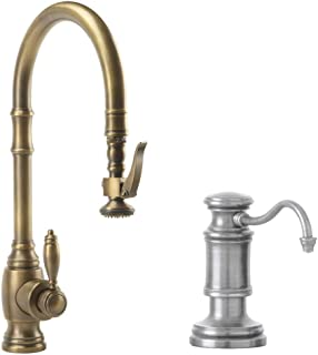 product image for Waterstone 5600-2-AP Annapolis Kitchen Faucet Single Handle with Pull Out Spray, Soap/Lotion Dispenser, Air Gap and Air Switch, Antique Pewter