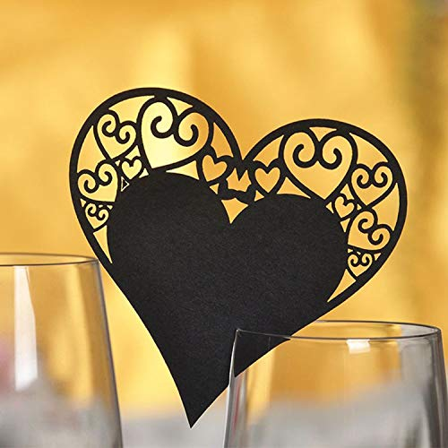 Miao Express 50pcs/Set Wedding Table Decoration Place Cards Laser Cut Heart Floral Wine Glass Place Cards Wedding Event Party Bar Decoration,Black ()
