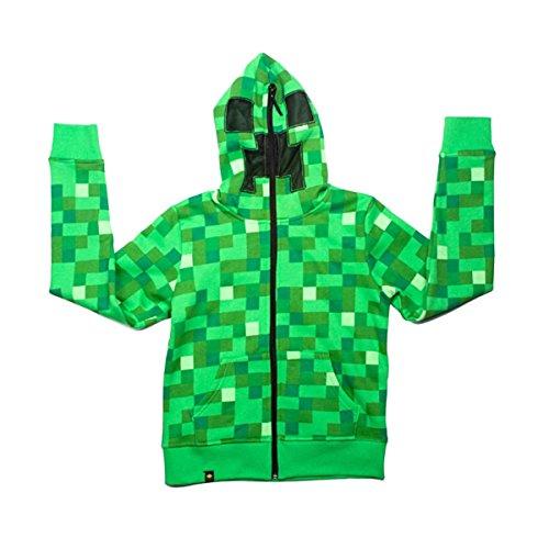 Minecraft Kids' Boys' Green Block Creeper Zip-Up Hoodie Sweater Sweatshirt Jacket k87 (9-10 years(Tag Size 160)) ()