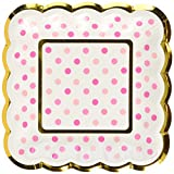 amscan Party Supplies Mini Paper Scalloped Square Plates-Pink, Multicolor